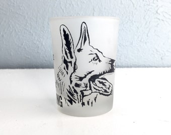 Vintage King German Shepard Shot Glass, Federal Glass