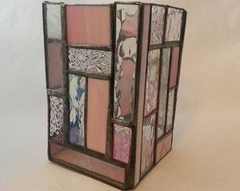 Pink and clear stained glass candle holder