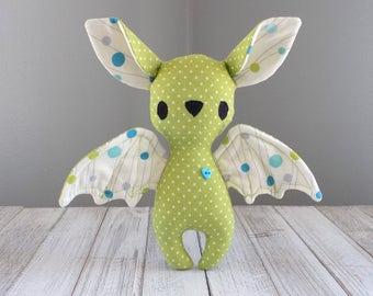 Bat stuffed toy, Bat stuffed animal, bat plush toy in lime green, cute bat, kawaii stuffed animal, halloween bat, unique stuffed toy