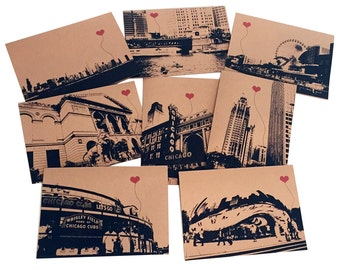 Chicago Lover's Assorted Boxed Set of 8 note cards
