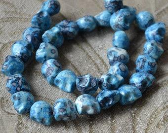Blue flower skull stone nugget stone Beads,Skull stone beads loose strands, Gemstone Bead loose strands