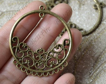 6  pcs of Antique Bronze circle flower Connector pendant, charm Metal Earring Components ,earring Pendant charm