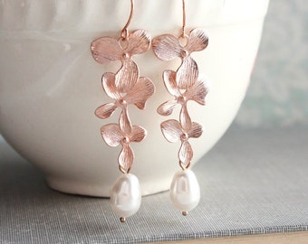 Rose Gold Orchid Earrings Floral Earrings Long Pink Gold Dangles Bridal Jewelry Bridesmaids Gift Cascading Flowers, Nickel Free, Pearl Drop