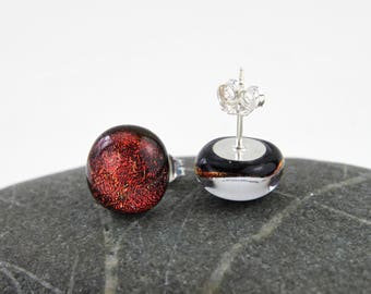 Copper Red Sparkling Dichroic Glass Stud Earrings, Sterling Silver, Handmade in Sweden