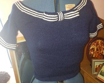 Vintage 50s style hand knitted boat neck fitted navy top pullover blue sailor nautical size small