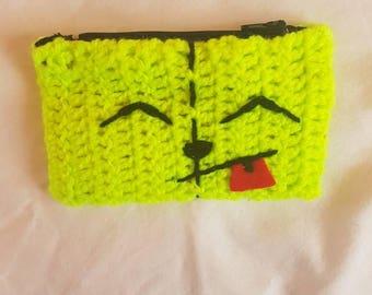 Gir dog coin purse invader zim  Nickelodeon crochet handmade  zip top
