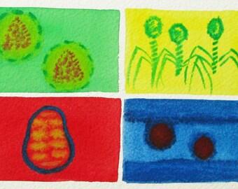 Vivid Viruses  - original watercolor painting