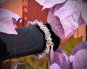GUITAR STRING & Purple Beaded BRACELET w/ Feather Charms