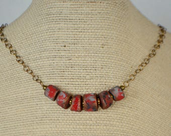 Red Necklace, Red Chunky Necklace, Primitive Bead Necklace, Artisan Bead Necklace, Colorful Necklace, OOAK Necklace, Eye Catching Necklace