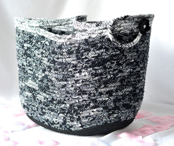 Handmade Moses Basket, Black and White Beauty, Unique Black and White Gift Basket, Shabby Chic Storage Organizer, Picnic Basket
