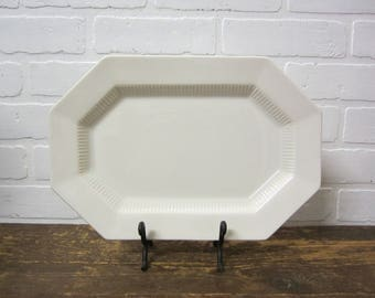 Vintage Independence White Ironstone Interpace Japan 13x9 Serving Platter