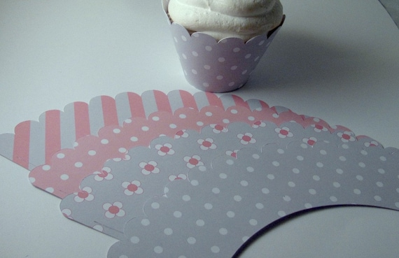 Pink & Gray  Cupcake Wrapper, Baby Shower Cupcake Wrappers, Girl Baby Shower Wrappers, Set of 12  Cupcake Wrappers