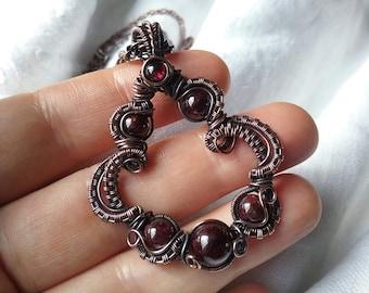 Garnet in copper pendant necklace