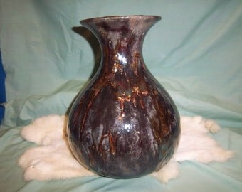 Raku 11 inches ceramic Vase- brown tones- copper dripping cascading down on sides.