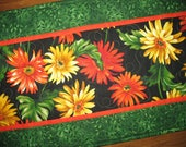 RESERVED FOR CHRIS Floral Table Runner, Gerbera Daisy, Summer, Fall Michael Miller, handmade
