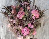 Dried Flower Bouquet Floral Arrangement Peony Peonies Pink Strawflowers Meadow Grass Globe Aramath Woodland Garden Free Lavender Sachet