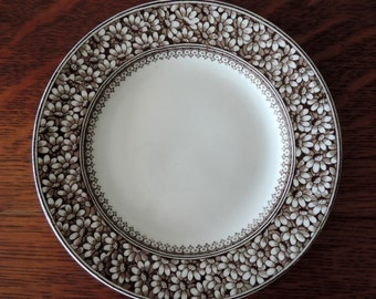 Antique Brown Transferware Platter Made in England by WAA Daisy Trade Mark Aesthetic Daisy Flower Design Stamp Plate Ship