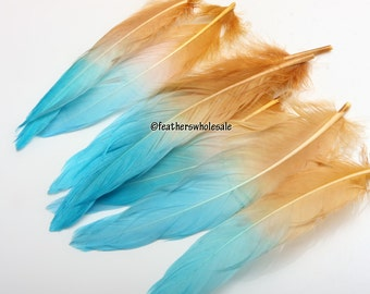 Aqua Brown Craft Feathers Seafoam Blue Brown Feathers for Crafts Jewelry Feathers Ombre Seafoam Brown Turkey Feathers 7