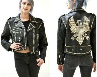 Vintage Black Leather Biker Jacket with Silver Studs Eagle Medium// Studded Black Leather Motorcycle Jacket Silver and black