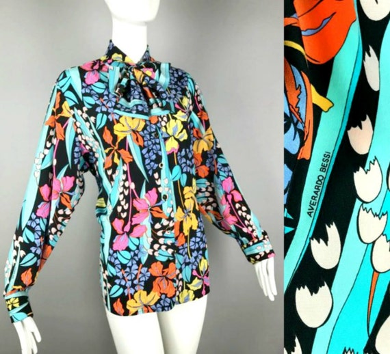 Vintage 70s Floral Psychedelic Averado BESSI Blouse silk Op Art Pussy Bow Blouse Ascot Top Shirt Secretary bow tie