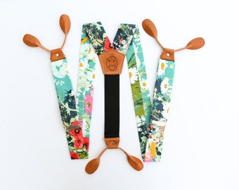 Teal Flowered Suspenders with Light Tan Leather Button On Suspenders // Groom Outfit // 1.5 inches wide // Easter Outfit  Fancy Suspenders