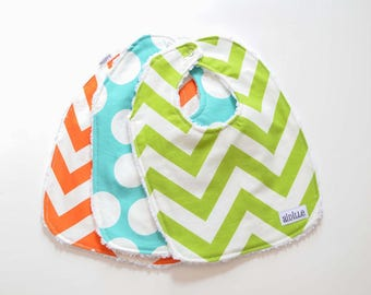 Modern Baby Bib Set of 3, Ready to Ship, Lime Aqua Orange, Chevron and Dot, Chenille Backed Bibs for Boy or Girl, Unisex Bibs Gender Neutral
