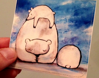 Large Sticker Polar Bears Christmas Holiday Fun Whimsical Art Cute Stationery for Kids