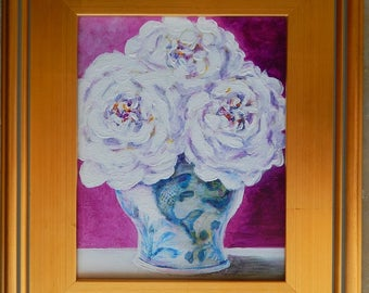 Roses in Fish Ginger Jar  ~ Original Painting (framed)