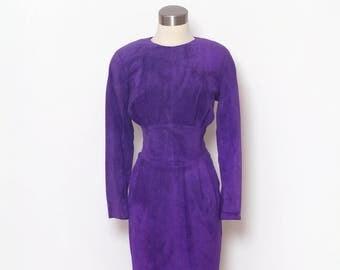 Vintage 80s dress / 80s dress / Cocktail /Purple dress / Dress / Vintage / Evening / party dress Morgan Taylor / Petites Suede Dress / retro