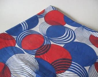 Twin cotton coverlet vintage sheeting material partially hemmed mod ovals red white blue handmade Pierre Martin fabric