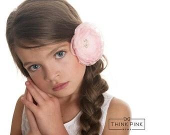 Beautiful Pink Hair Bow Hair Clip Headband,Flower Hair Bow Baby Hair clip, Baby headband,Baby headbands,pink baby headband hair bow,Hairbows