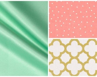 Baby Crib Bedding, Nursery Bedding, Toddler Bedding, Bumper Pads, Crib Skirt, Dust Ruffle, Fitted Sheet, Baby Girl Nusery Bedding Coral Mint