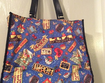 Mary Engelbreit tote bag large purse rare includes most ME designs/retired style htf