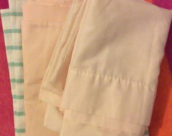 Set of 3 percale pillowcases standard poly/cotton blend 50s blush/pink/green &white stripe