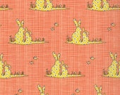 40% OFF SALE - BLUEBIRD Park Bunnies in Tangerine 13105-15 - Kate and Birdie Paper Company for Moda Fabrics - By the Yard