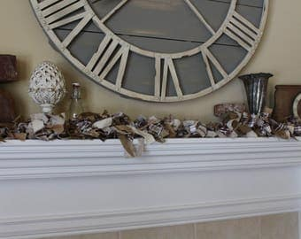 Fabric Garland Burlap Tan Taupe Brown Mantel Garland Swag