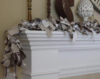 Fabric Garland Tan Taupe Brown Mantel Garland Swag