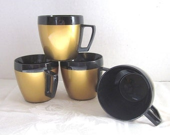 1970s, Gold, Coffee Cups, Thermo Serv, Thermal Cups, Space Age, Vintage, Retro, Photo Props, Set of 4