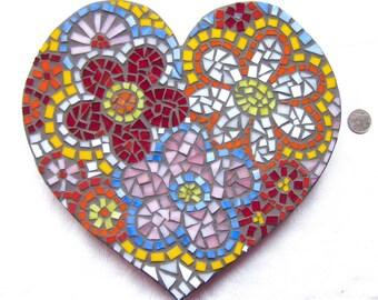 Heart, Love, Wedding, Gift, Wall hanging, Flowers, Home Decor, Original Art, Handmade, Mosaic