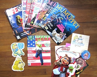 Vintage Lot of Muppets Ephemera / Muppet Magazine / Stickers / Life Magazine / Button / Kermit / Miss Piggy / Jim Henson