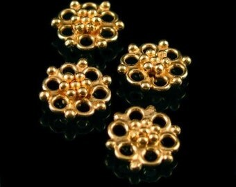 Vermeil gold Flower Links - 2 pieces - Double Sided Chandelier Links - Oakhill Silver Supply  L23V