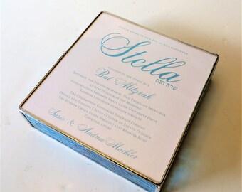 Stained Glass Keepsake Box Bat Mitzvah Invitation Gift Box Photograph 7x7x2 Handmade Custom Made-to-Order