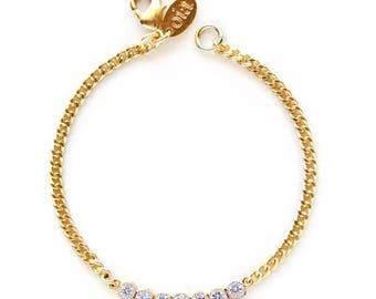 ON SALE CLEARANCE - Rhinestone Bracelet, Gold Delicate Bracelet, Layering Bracelet, Cz bracelet