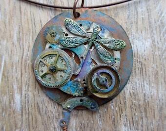 Amazing Steampunk Dragonfly Clockworks Pendant - SUPER Cool