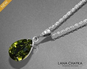Olivine Green Crystal Necklace Swarovski Olivine Rhinestone Necklace Teardrop Olive Crystal Silver Necklace Wedding Bridesmaid Jewelry