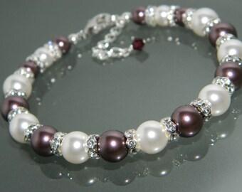 Burgundy White Pearl Bracelet Swarovski Burgundy White Pearl Bracelet One Row Pearl Bracelet Wedding Burgundy White Pearl Bridal Jewelry