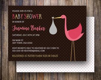 Stork Baby Shower Invitation, Baby Girl, Stork Baby Shower Invite, Printable Stork Baby Shower Invitation - Modern Stork in Brown and Pink