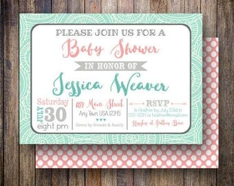Tribal Baby Shower Invitation, Printable Tribal Baby Shower, Geometric, Polka Dots, Gender Neutral - Tribal Arrows in Teal and Coral Pink