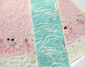 Baby Quilt Girl Bedding Blanket Baby Crib Shabby Chic Pink Blue Unicorn Magic Parade Horses Gold Glitz I Love You to the Stars