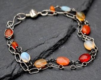 Mexican Fire Opal Bracelet, AAA Fiery Orange & Red Opals, Oxidized Silver Double Strand Bracelet, Boho Luxe Opal Jewelry